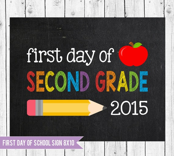 Delicate image for first day of 2nd grade printable sign