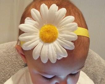 Yellow and white big daisy flower garland soft elastic headband baby, toddler or girls new