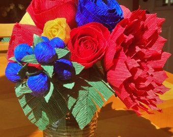 Crepe Paper Flower Arrangement, Wedding Centerpiece, Wedding Bouquet