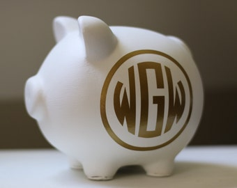 Large White and Gold Circle Monogram Personalized Piggy Bank