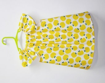 Yellow apples baby dress, baby girl clothes, baby girl dress, kids clothing, baby girl clothing, summer baby dress, cotton baby dress