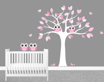 Owl wall decal etsy - Stickers arbre chambre fille ...