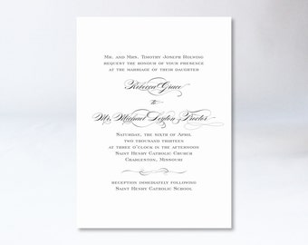Gorgeous, Traditional Wedding Invitation | Script + Block Font | Black + White {digital file}