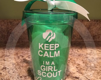Keep Calm I'm a Girl Scout Leader Clear plastic tumbler w/Decorative Vinyl