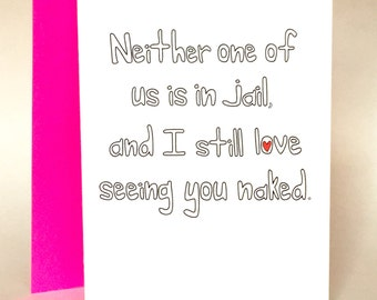 Jail Anniversary, sarcastic love, Love Card, Funny Greeting Card, Husband card, wife card, Greeting Card, Boyfriend Card, C-035