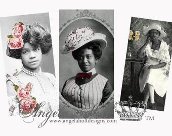 Vintage African American Women Photo Domino Digi Sheet
