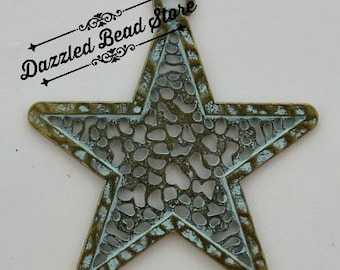Large Patina STAR pendant - antique bronze/patina blue