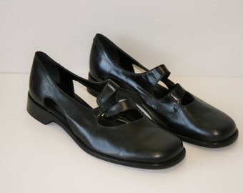 Black Mary Janes Fashion shoes / Roby&Pier Black Leather Shoes /  Dolly Shoes / Low Heels Black Pumps/ Oxford Shoes   EUR 37 1/2  US 7
