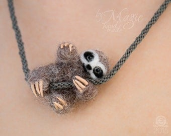 Felt sloth necklace, needle felt sloth, kumihimo necklace, mini sloth, wool toy sloth, small pendant, sloth art