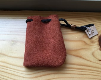 Handmade rust suede leather pouch