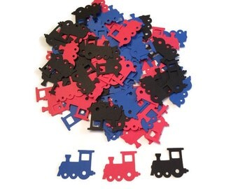 100 Assorted Train Confetti, Die Cut Train, Baby Shower, Train Theme Party, Train Décor, Baby Boy, Train Birthday Party, Table Confetti
