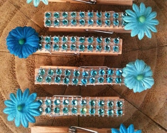 Flower Clothespins / Decorative Clothespin Clips / Set of 5 Clips  / Blue Flower Pins