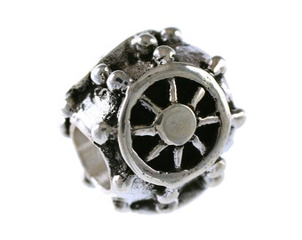Captain's Ship Wheel Large Hole Sterling Silver Bead - Compatible with ALL Popular Bracelet Brands - Made ENTIRELY in the USA! - Item #13249