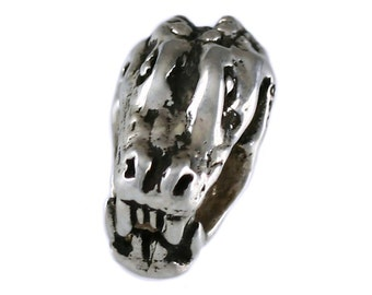 Chomping Gator Head Large Hole Sterling Silver Bead - Compatible with ALL Popular Bracelet Brands - Made ENTIRELY in the USA! - Item #16921