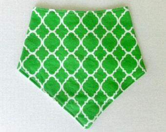 Baby Bandana Bib - (17) - Green Baby Bib - Green Bibdana - Green Pattern Bib - Neutral Drool Bib - Boy Bibdana - Baby Boy Bib