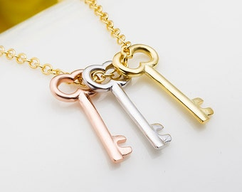 """Sterling Silver 3 Key Charm Necklace Tri Color Rose White Yellow Gold Vermeil Jewelry Bear 18"""" 20"""""""