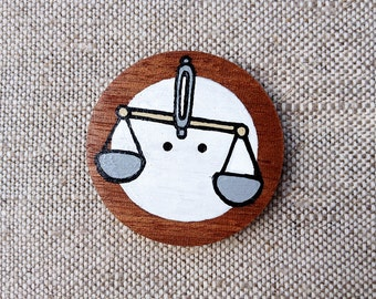 Libra Zodiac Sign Hand Painted Wooden Button with Zodiac Symbol Libra, Astrology Art Libra Picture, Libra Painting, Scales painting, Balance