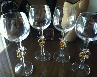 Set of 5 Clear Wine Glasses~Goblets with Colorful Hand Blown SEAHORSES on Stems