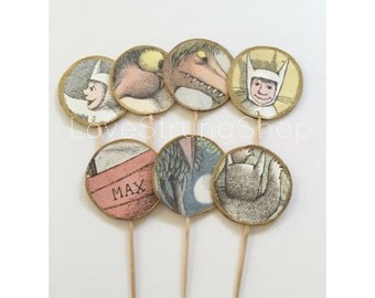 Where the wild things are inspired FOOD PICKS/cupcake toppers with gold embossed edge for book theme showers or birthday parties Wild one