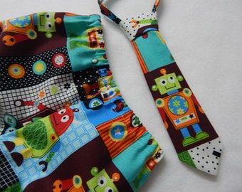 robot diaper cover with matching necktie----robot cake smash birthday---robot birthday---robot necktie
