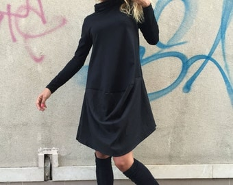Extravagant Little Black Dress, Oversize Casual Turtleneck Top, Asymmetrical Daywear Dress By SSDfashion