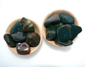 Bloodstone tumblestone crystal, polished bloodstone one piece, chalcedony heliotrope crystal