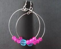 """Blue/Hot Pink Hoop Earring, Stylish Earring, 2.5"""" Hoop Earring,  Elegant Earring, Drop Earring, Blue/Hot Pink Glass Bead Earrings"""