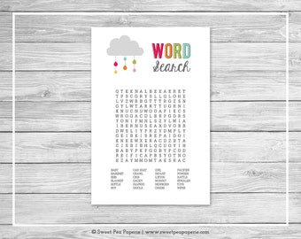 Rainbow Showers Baby Shower Baby Word Search Game - Printable Baby Shower Baby Word Search Game - Rainbow Baby Shower - Word Search - SP100