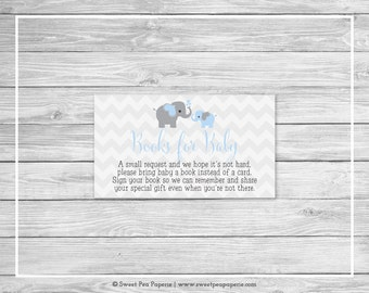 Elephant Baby Shower Book Instead of Card Insert - Printable Baby Shower Books for Baby - Blue and Gray Elephant Baby Shower - SP102