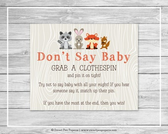 Woodland Animals Baby Shower Don't Say Baby Game - Printable Baby Shower Don't Say Baby Game - Woodland Animals Baby Shower - SP105