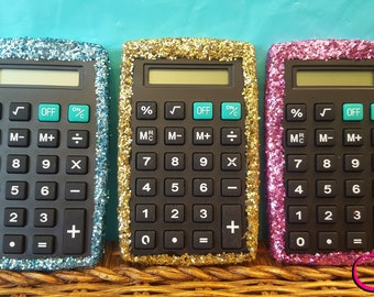 Glitter Calculator, (Your Choice of Color), Pink Calculator, Hand Held Calculator, Blue Calculator, Turquoise Calculator, Purple Calculator
