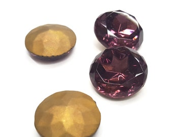 24 Pieces Amethyst Glass Stones, Gold Foil on Back, Vintage Czech, 48ss Round
