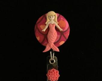Chrysanthemum Mermaid-Nurse Retractable ID Badge Reel/ RN Badge Holder/Doctor Badge Reel/Nurse Badge Holder/Nursing Student Gift