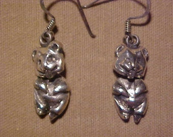 Sterling Earrings, Chipmunks, note the head and body move. Marked 925 FREE SHIPPING USA