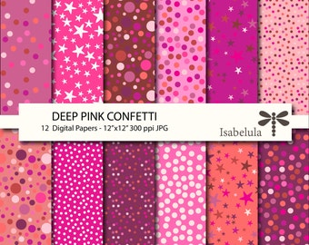 "Pink Confetti Digital Paper / Digital Backgrounds - 12 Sheets 12"" x 12"" High Quality JPGs - Instant Download"
