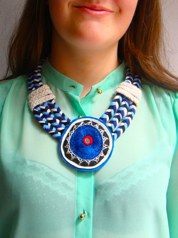 Items similar to mexican necklace pendant embroidered