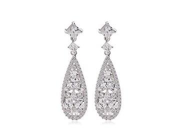 Bridal Earrings, Cubic Zirconia,  Crystal Drop Earrings, Wedding Earrings, Art Deco Style, Bridal Earrings, Sparkly Earrings, Hollywood Chic