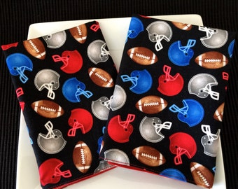 Football Lunchbox Napkin, Red, Blue & Black Large Size, Reversible  Kid'd Cloth Napkins. Back To School Time!