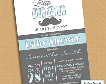 Little Man Baby Shower Invitation Printable Blue and Grey LM001