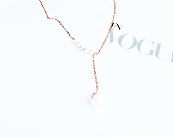 Rose Gold  Pearl Pendant Necklace 925 Silver Pearl Chain Pendant Necklace Simple Elegant Everyday Wedding Bridal Bridesmaid Birthday Gift