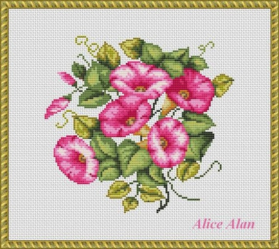 cross stitch pattern flowers bouquet morning glories floral