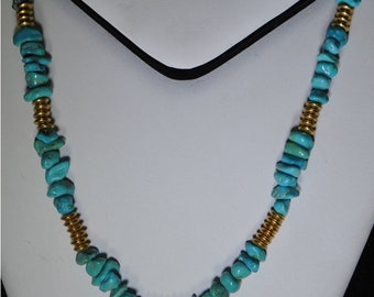 Necklace with turquoise nuggets stones