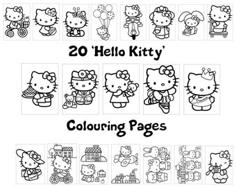 Hello Kitty! -  Colouring Book Pack - 20 x A4 Sheets ! (Rainy Day/ Holiday Craft for Children)
