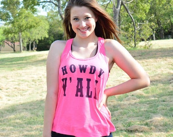 Howdy Yall Printed Racerback Tank Top
