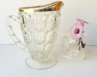Vintage Jeannette Glass Thumbprint Pitcher