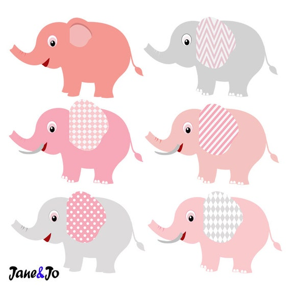 24 Elephant Clipart Pink and Grey Elephant Clip Art, Baby ...