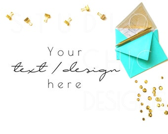 Styled Stock Photography- Party Stock Photography - Gold and Teal Product Background - Stationery Display - 021