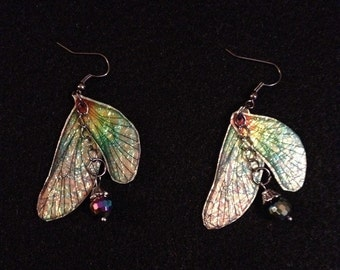 Iridescent fairy wing earrings with drop down irridescent bead fairy princess