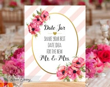 Printable Gold Date Jar Sign -Date night sign - Date night jar - Date night ideas, INSTANT DOWNLOAD- C065,