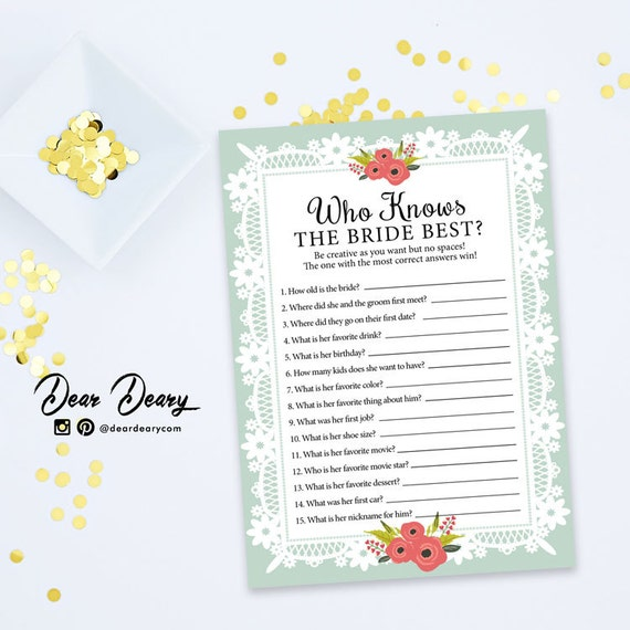 Who Knows The Bride Best Printable Game Lace Bridal By